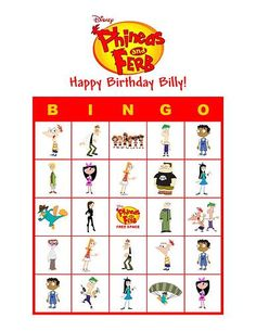 Phineas and Ferb Bingo Cards