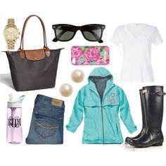 Guideline Always accentuate rainy days with bright colors and a cute raincoat! Rainy Day Outfit For Work, Cute Rainy Day Outfits, Warm Outfits, Preppy Outfits, Classic Outfits, Outfit Of The Day, Cool Outfits, Preppy Clothes, Classic Clothes