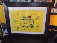 8 Signed Masters Winners on Masters Golf Flag Phil Mickelson Nick Faldo