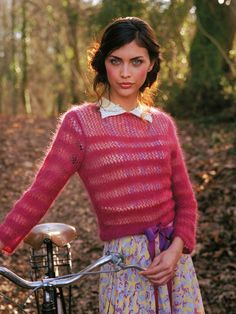 Aimee Sweater in Rowan Kidsilk Haze, a beautiful pink stripe jumper. Find this pattern and more knitting inspiration at LoveKnitting.Com.