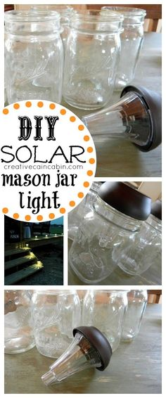DIY Solar Lamp What you will need Small mouth mason jars Solar garden lights Hot glue gun Remove the stem of the light, but you can also remove the clear plastic base that the solar light attaches to (if you want). Run a bead of hot glue around the rim of the jar, and place the light on top.  Mason Jar