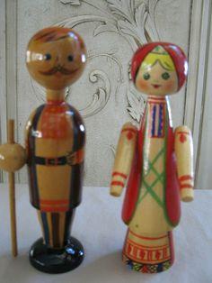 RARE OLD ANTIQUE VTG  Ukrainian Wooden Non Nesting Solid Dolls w/Stickers #UkrainianNonNestingSolidDolls