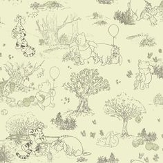 Disney's Winnie the Pooh & Friends Toile Removable Wallpaper, Grey