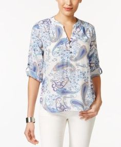 Ny Collection Petite Printed Henley Top - Blue P/