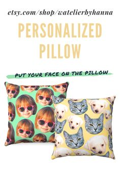 Face Pattern Pillow Cover / Personalized Pillow With Family Baby Dog Cat Pet Picture / Custom Pillow Case With Faces / Housewarming Moving Gift #Home Custom Pillow Cases, Custom Pillows, Decorative Pillows, Moving Gifts, Personalized Pillows, Animal Pillows, Baby Dogs, Kids Decor, Animal Pictures