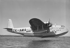 Short S.30 Empire (or: 'C-') Class flying boat 'Aotearoa' ZK-AMA (c/n: S.884). This was a longer-range variant of the S.23 (dimensionally identical, but with a higher MAUW and greater fuel capacity), referred to as a Mk IV New Zealand 'boat.  Originally registered as G-AFCY in the UK, this aircraft saw service New Zealand's Tasman Empire Air Lines ('TEAL').