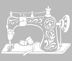 Pochoir Adhésif 30 x 20 cm MACHINE A COUDRE VINTAGE Stencil Patterns, Stencil Art, Embroidery Patterns, Stenciling, Cricut Monogram, Cricut Vinyl, Machine Silhouette Portrait, Adhesive Stencils, Kirigami