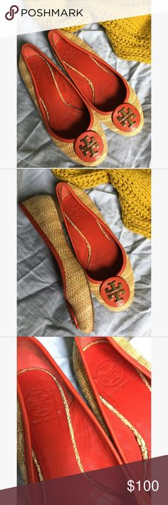 Tory burch flats Size 7.5 . In excellent condition. No holes or stains . Very cute & comfortable Tory Burch Shoes Flats & Loafers