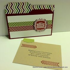 Stampin Sunshine.  File folder card made with the envelope punch board.  Artisan label punch for the tab.  Washi tape--could be ribbon or paper.  Cute!