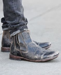 Distressed black leather boot by BEDSTU. Hand made for style and comfort. Pair this short boot with skinny denim.