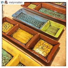 Love how @melynnallen used multiple forms to make these colorful trays with individual sections!__________________________________________________ @melynnallen with @repostapp. ・・・ Just unloaded a kiln of mostly earthenware divided dishes. This is all new work for me and after doing black and white for almost 2 years straight, these bright colors are a welcomed sight to see. #pottery #clay #ceramics #earthenware #grpotteryforms