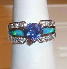 Stunning Trillion Cut Tanzanite Blue Fire Opal Inlay 925 Size 8 WOW | eBay