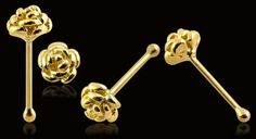 Adorable! Gold Nose Stud 9kt Tiny Rose Ring Body Jewelry