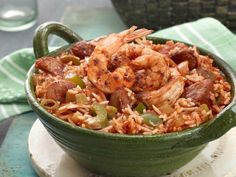 Jambalaya with Shrimp and Andouille - Combine basmati rice, andouille sausage, shrimp and lots of veggies to make this traditional jambalaya. It's great for celebrating Mardi Gras or a weeknight meal.