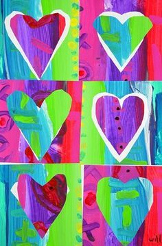 Pop Art Hearts: 2 painted papers cut into 3 squares each; heart cut from each square and mounted in negative space in another square Will243's art on Artsonia