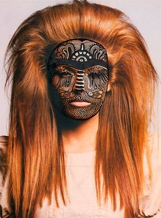 Nina Chakrabati, she doodles ontop of fashion editorial prints, the type of patterns she draws look like tribal prints. I like it because it is like a mask and the pattern seems quite trendy. - Looks like a female Wookiee. Hidden Identity, Cultural Identity, Rie Rasmussen, Photo D Art, Facial Masks, Native American Indians, Native Americans, Headgear, Halloween Face Makeup