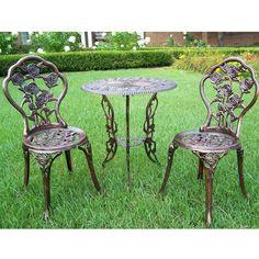 3 Piece Bistro Set Outdoor 2 Chairs Table Garden Porch Deck Metal Cafe Furniture #BistroFurniture