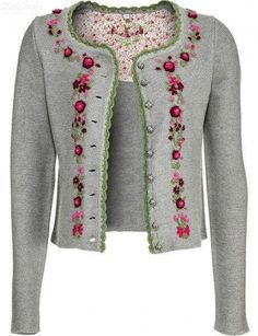 Risultati immagini per strickanleitung jacke tailliert Wool Embroidery, Embroidery Fashion, Embroidery Dress, Ribbon Embroidery, Embroidery Stitches, Embroidery Designs, Folk Fashion, Diy Fashion, Embroidered Clothes
