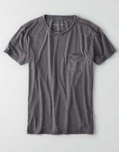 AEO Burnout Pocket Crew T-Shirt, Storm Heather | American Eagle Outfitters