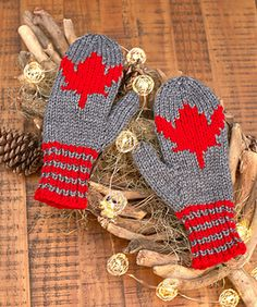 Maple Leaf Mittens Free Knitting Patterns in Red Heart Yarns -- Show your Canadian pride right down to your fingertips with knit mittens that sport the national symbol. Chart is included for knitting the leaf right into your mittens. Knitting Charts, Knitting Stitches, Knitting Patterns Free, Free Knitting, Free Crochet, Knit Crochet, Charity Knitting, Crotchet, Stockings