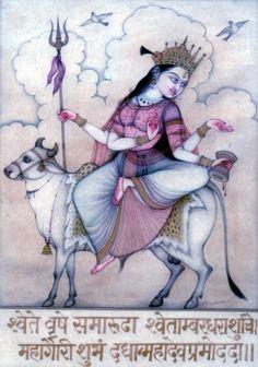 Navadurga the Mahagauri Ma Durga who rides a white Vrishaba the bull and who wears spotless white clothes and remains ever pure and also provides ever lasting bliss to Mahadeva Lord Shiva bestow all auspiciousness. Devi is 16 years. Om Namah Shivaya, Indian Gods, Indian Art, Lord Photo, Navratri Images, Lakshmi Images, Durga Goddess, Durga Maa, Divine Mother