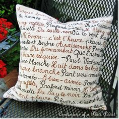 DIY French Poetry Pillow...and...Envelope Closure Tutorial    It was easy and almost free since I already had everything I needed! I started with a scrap of leftover drop cloth and two fabric markers.   ~confessionsofaplateaddict.blogspot