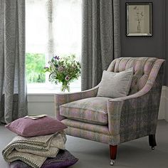 Heather and grey paisley living room | Living room decorating | Country Homes and Interiors | Housetohome.co.uk