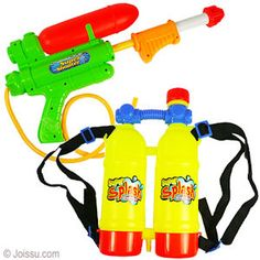 TANK BACKPACK WATER BLASTERS. Just strap the water tanks on, hook up the pump-action water blaster with the enclosed hose, fill up the tank with water and win the water wars every time. Woven straps are adjustable. Assorted colors. Each polybagged with header. Size 16 inch water blaster, 6.5 X 11 inch tank