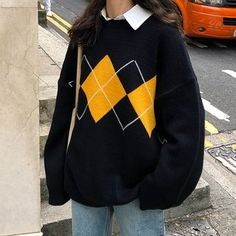 Buy Rorah Argyle Sweater at YesStyle.com! Quality products at remarkable prices. FREE Worldwide Shipping available! Indie Outfits, Korean Outfits, Retro Outfits, Cute Casual Outfits, Fashion Outfits, Casual Dresses, Harajuku Fashion, Sweatshirt Femme, Sweatshirt Outfit
