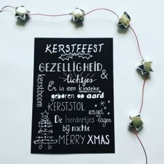 Handlettering kerstkaart zwart