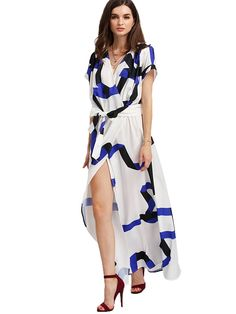 b1dd9821fd ROMWE Women s Bohemian Short Sleeve V neck Long Beach Wrap Maxi Dress at Amazon  Women s Clothing store