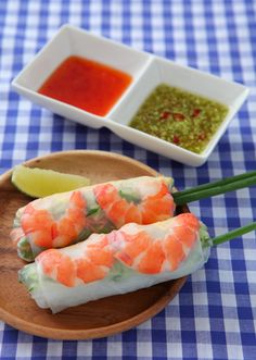 Rice Paper Rolls, Asian Recipes, Ethnic Recipes, Spring Rolls, Japanese Food, Cantaloupe, Watermelon, Side Dishes, Food And Drink