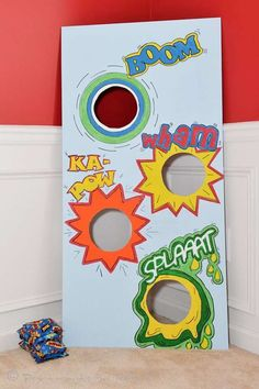 Bean bag toss. Superhero Birthday Party Ideas | Photo 7 of 22 | Catch My Party
