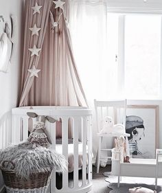 Girls nursery design by @blondeandbone Featuring: Número 74 canopy in Powder…