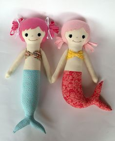 Cute doll pattern. Mermaid, soft doll, PDF Sewing Pattern Direct Download - 'Mali & Mindi'