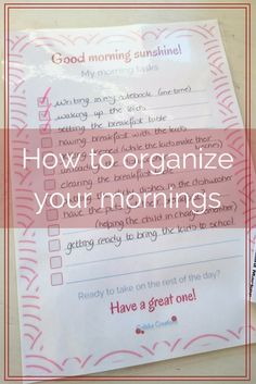 How to organize your mornings - Colleke Creations