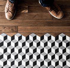 Hexagonal concrete tiles in a tumbling block pattern transition seamlessly into an antique wood floor. Kicthen floor design by Royal Roulotte Floor Patterns, Tile Patterns, Floor Design, Tile Design, Cement Tiles Bathroom, Concrete Tiles, Room Tiles, Transition Flooring, Decoracion Vintage Chic