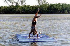 WaterMat, the WaterMat, WaterMat vs Inflatable Trampoline, WaterMat lake toy… Floating Dock, Floating In Water, Floating Pontoon, Alta Lakes, Lake Shasta, Water Trampoline, Lake Toys, Pond Life, Lake Cabins