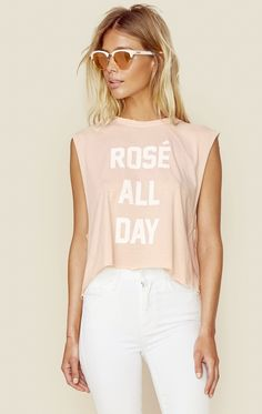 ROSE ALL DAY MUSCLE TANK   @ShopPlanetBlue