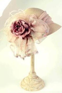 Straw hat with organza and heirloom rose