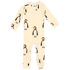 Mini Rodini Penguin Bodysuit In Beige