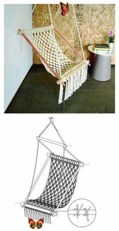 Macrame Hanging Chair, Macrame Chairs, Macrame Curtain, Diy Hanging, Macrame Plant Hangers, Macrame Projects, Diy Projects, Chaise Diy, Diy Hammock