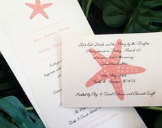 SANDY: Beach Wedding Invitation Starfish by peachykeenevents