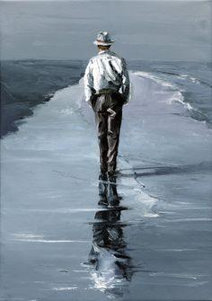"Sold   ""Walking Man""   14x20   oil"