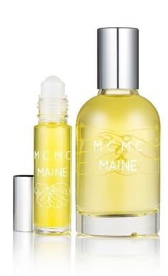 Maine is inspired by a day spent on the island of North Haven off the coast of Maine, falling in love.      Bulgarian rose absolute, local clary sage, wild Somalian myrhh and French seaweed absolute convey the fresh scents of sea, air, sun, pine, and the discovery of a single perfect beach plum rose.  Dries down into the musky scent of sensual skin coupled with sun-dried grass.