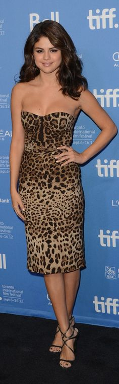 Selena Gomez in Dolce & Gabbana dress and Jimmy Choo heels at the Toronto International Film Festival, September 2012