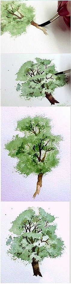 Painting Watercolor Trees Art Lessons 39 New Ideas Watercolor Tips, Watercolour Tutorials, Watercolor Techniques, Watercolor Landscape, Watercolour Painting, Painting Techniques, Painting & Drawing, Watercolor Water, Drawing Trees