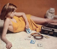 Yellow dress and tape deck