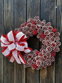 Pine Cone Wreath Red and White Pine Cone Christmas by DyJoDesigns