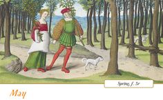 Another leisurely couple performs May's pleasure: the gathering, on the first day of the month, of flowering or leafing branches. May Day, in medieval – and modern – Europe celebrated the return of spring. Celebrations came to include the gathering of wildflowers and green branches, the weaving of floral garlands, and the erecting of a Maypole, around which people danced.